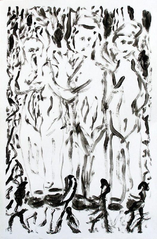 Anne-Marie Sautereau 2009 - Trois poupées - Dessin à l'acrylique sur papier