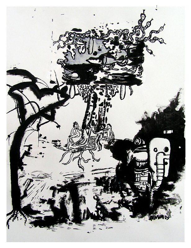 Anum 2009 - Les singularitez - Dessin à l'acrylique sur papier