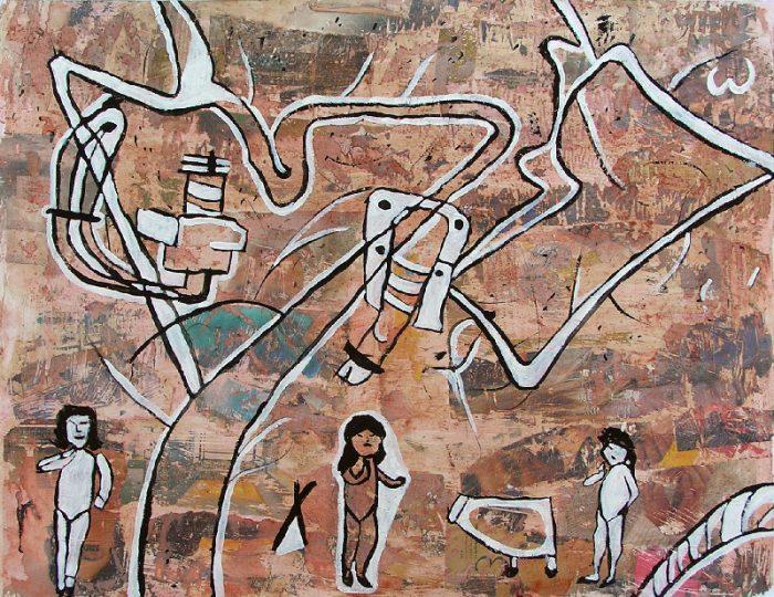 Béatrice Feltz 2009 - Les singularitez - Dessin sur collage