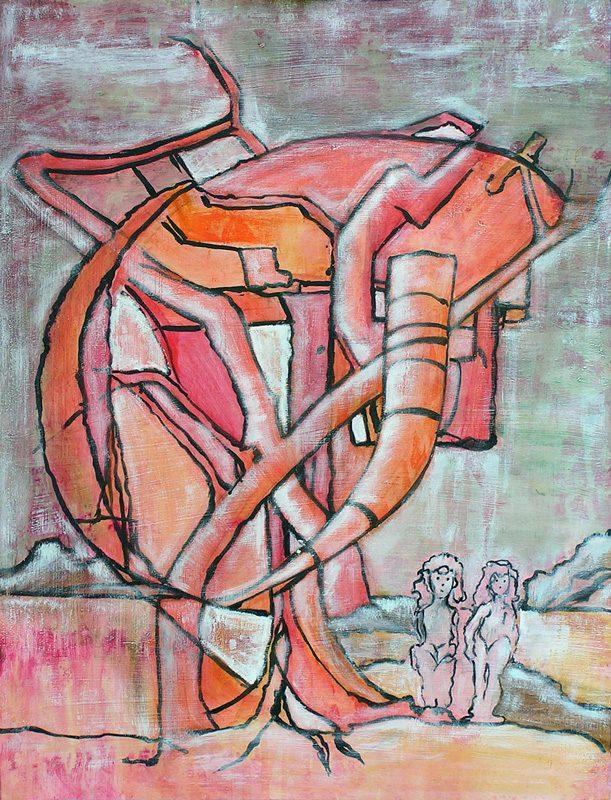 Jacqueline Putatti 2009 - Les singularitez - Acrylique sur papier texturé au gesso