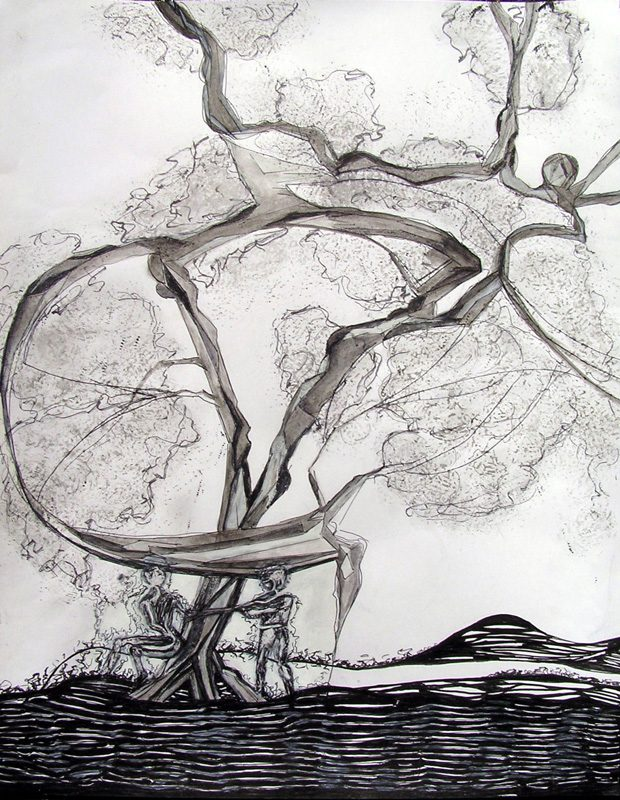 Katerine Bruneau 2009 - Les singularitez - Dessin à l'acrylique sur papier