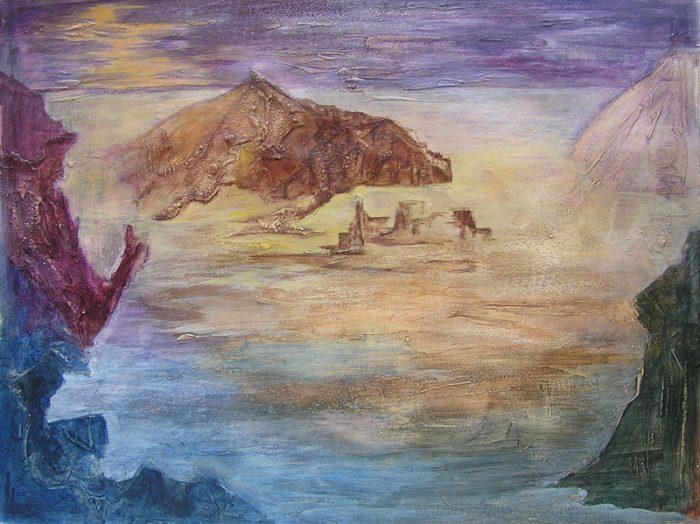 Alessandra Benech 2009 - Paysage de montagne - Acrylique sur mortier