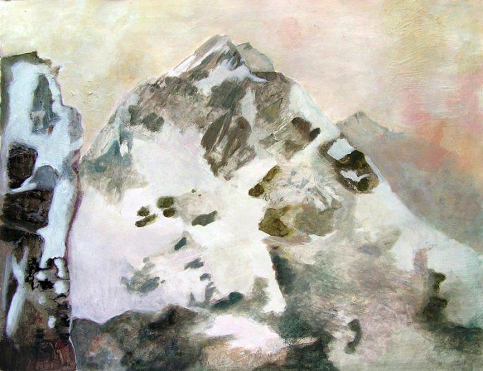 Elise Durand-Bazin 2009 - Paysage de montagne - Acrylique sur transferts