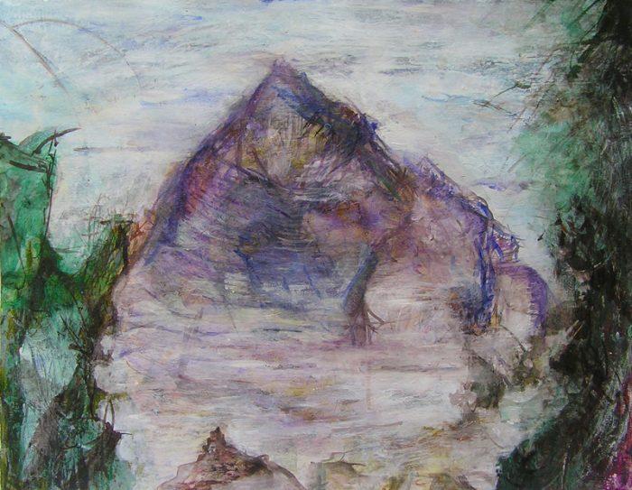 Isabelle Bisson 2009 - Paysage de montagne - Acrylique sur transferts