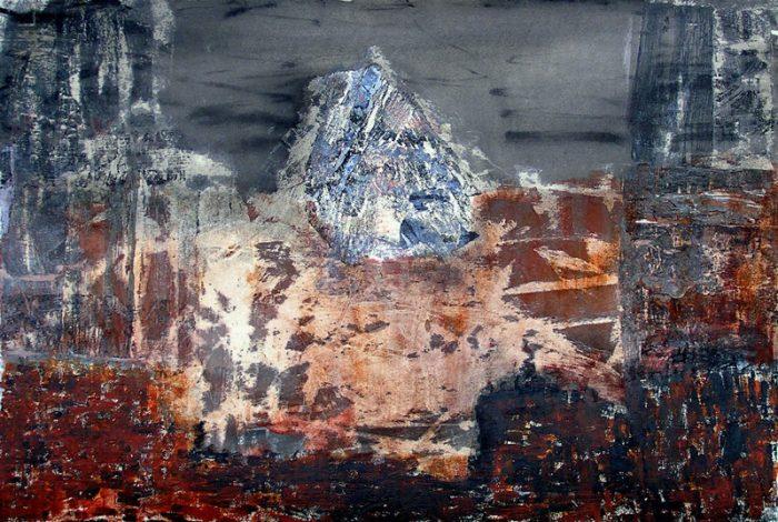 Janine Bailliez 2009 - Paysage de montagne - Acrylique sur transferts