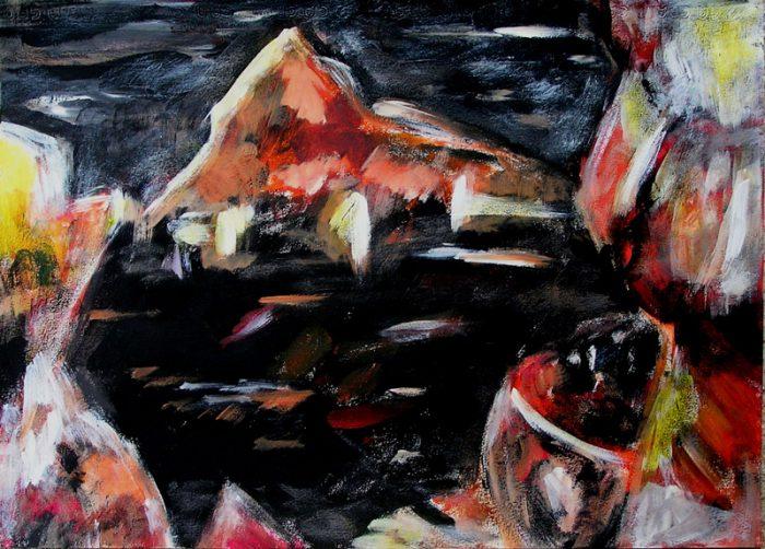 Ladin Sabras 2009 - Paysage de montagne - Acrylique sur papier