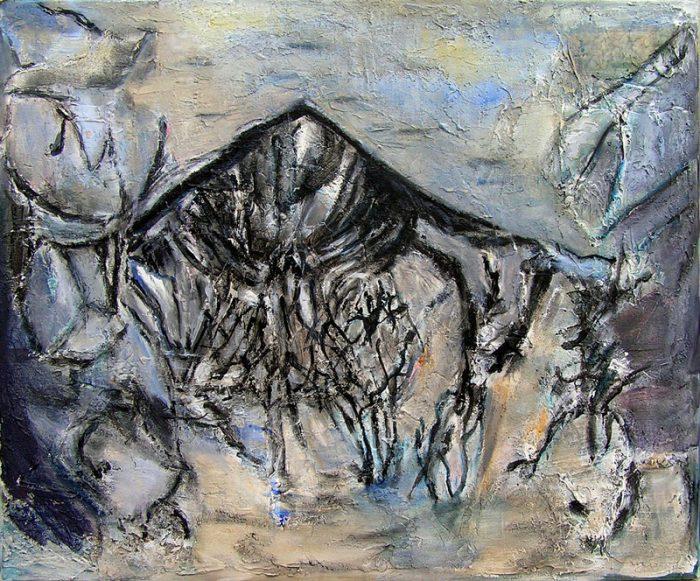 Madeleine Gautier-Brun 2009 - Paysage de montagne - Acrylique sur mortier (I)