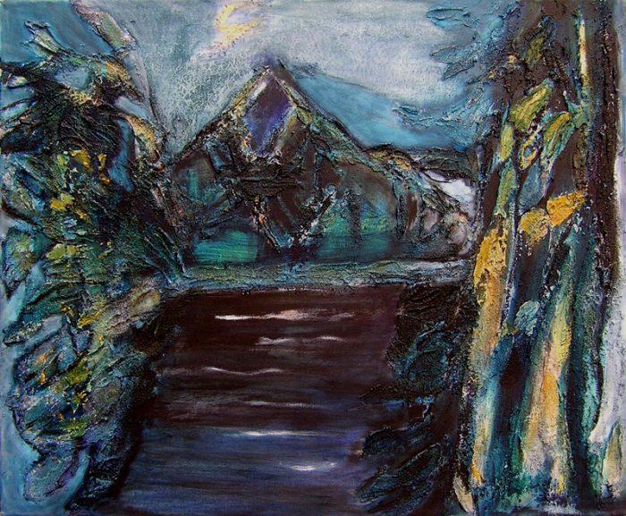 Madeleine Gautier-Brun 2009 - Paysage de montagne - Acrylique sur mortier (II)