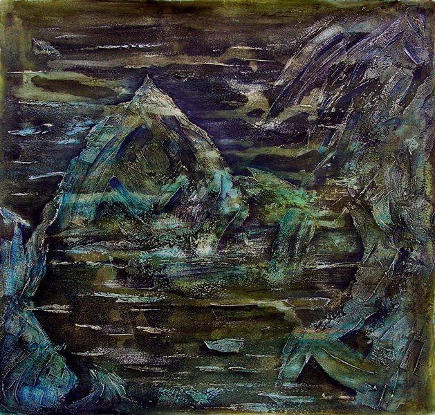 Martine Lucy 2009 - Paysage de montagne - Acrylique sur mortier