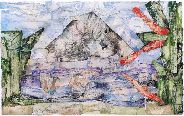 Pauline Dautel 2009 - Paysage de montagne - Acrylique sur papier collé poncé
