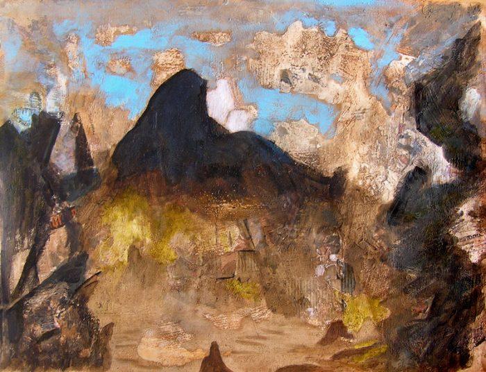 Yvonne Thoumyre 2009 - Paysage de montagne - Acrylique sur mortier