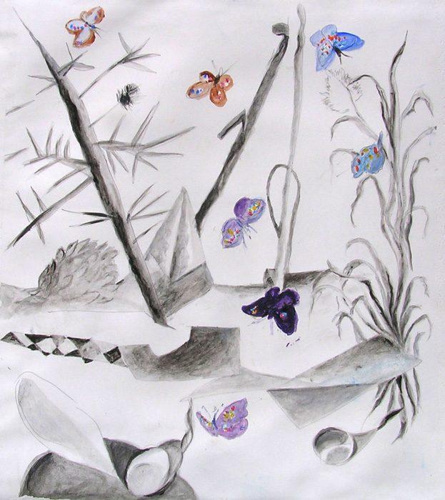 Françoise Amic 2009 - Grues et papillons - Acrylique sur papier