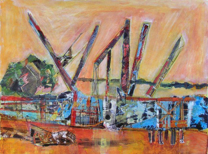 Gisèle Dubois 2009 - Grues et papillons - Acrylique sur collages