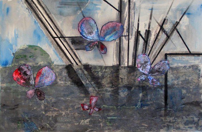 Janine Bailliez 2009 - Grues et papillons - Acrylique sur collages