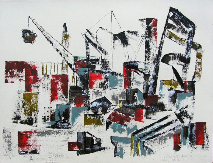 Jola Sidi 2009 - Grues et papillons - Dessin et peinture par raclage au couteau