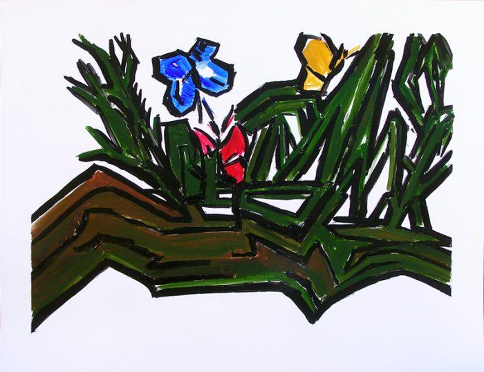 Pauline Dautel 2009 - Grues et papillons - Acrylique sur papier