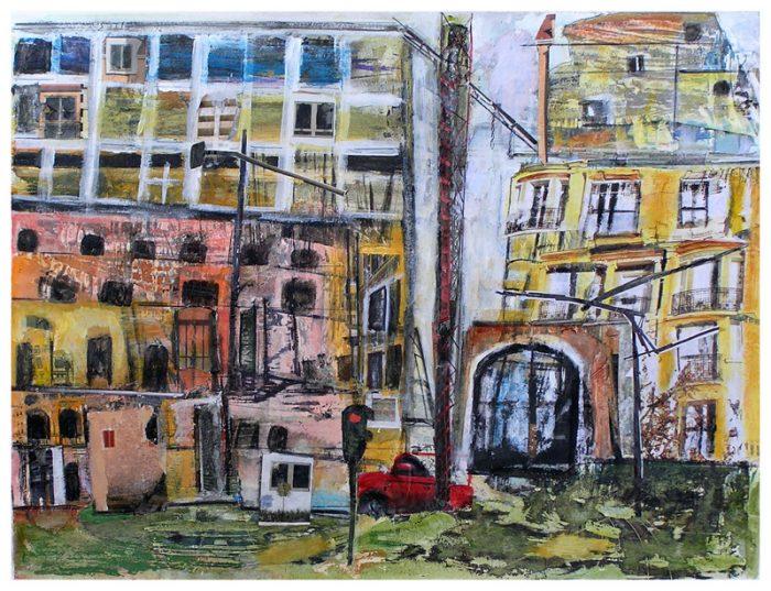 Gisèle Dubois 2009 - Abstraction en chantier - acrylique sur transferts