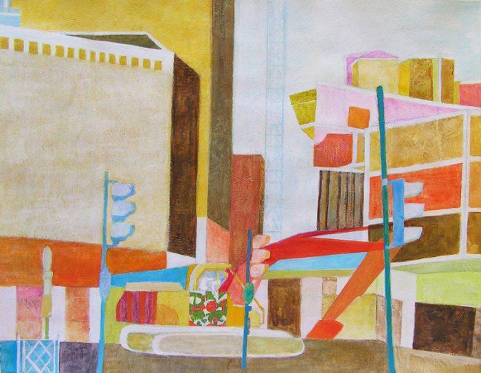 Isabelle Bisson 2009 - Abstraction en chantier - acrylique sur papier texturé au gesso