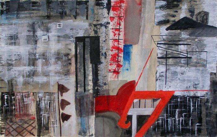 Janine Bailliez 2009 - Abstraction en chantier - acrylique sur transferts