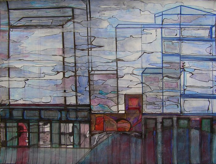 Katerine Bruneau 2009 - Abstraction en chantier - acrylique et stylo sur transferts