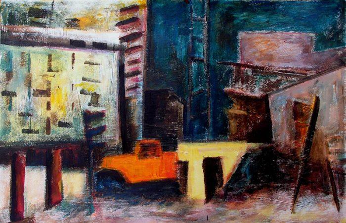 Ladin Sabras 2009 - Abstraction en chantier - acrylique sur papier texturé au gesso