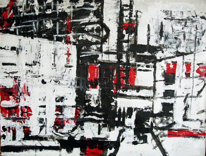 Nathalie Grange 2009 - Abstraction en chantier - acrylique sur transferts