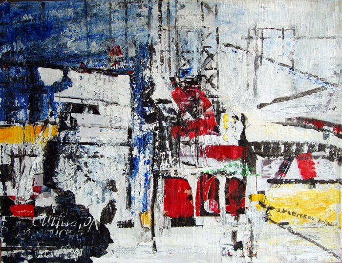 Nathalie Grange 2009 - Abstraction en chantier - acrylique sur transferts et collages (I)