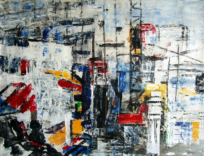 Nathalie Grange 2009 - Abstraction en chantier - acrylique sur transferts et collages (II)