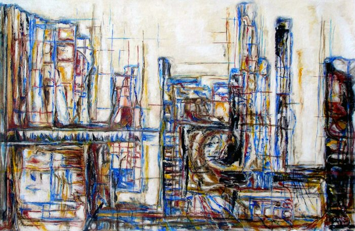 Oanh 2009 - Abstraction en chantier - acrylique sur transferts