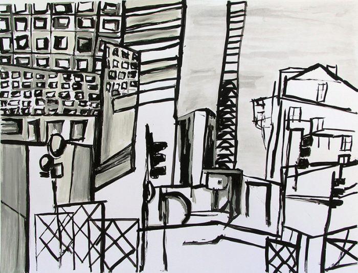 Pauline Dautel 2009 - Abstraction en chantier - Dessin à l'acrylique et lavis