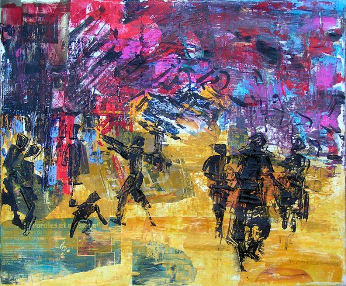 Nathalie Grange 2009 - S.O.S. Sélection — Organisation — Simplification - Peinture acrylique au couteau sur collages.