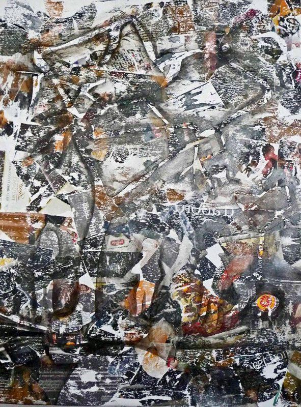 Stéphanie R-T 2009 - Brouillard dans le bois - Acrylique sur papier collé poncé