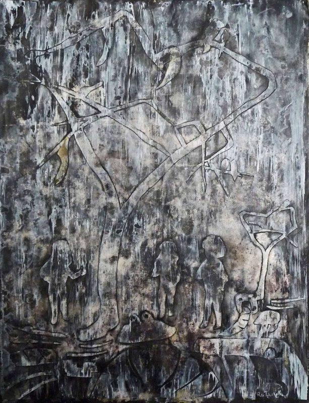 Stéphanie R-T 2009 - Promenons nous dans le bois - Délavage sur collage relief
