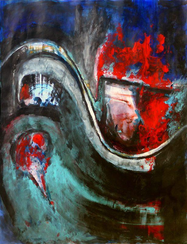 Madeleine Gautier-Brun 2018 Chaos 1 - Acrylique sur papier 50 x 65 cm