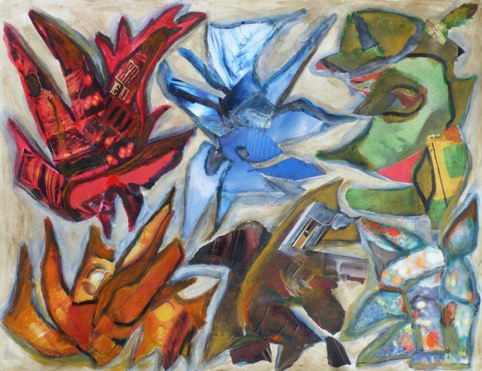 Madeleine Gautier-Brun 2018 - Signes-objets - Mouches de pêche et bijoux fantaisie - Acrylique et collage sur papier 50 x 65 cm