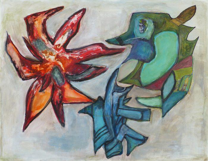 Madeleine Gautier-Brun 2018 - Signes-objets - Mouches de pêche et bijoux fantaisie - Acrylique sur papier 50 x 65 cm