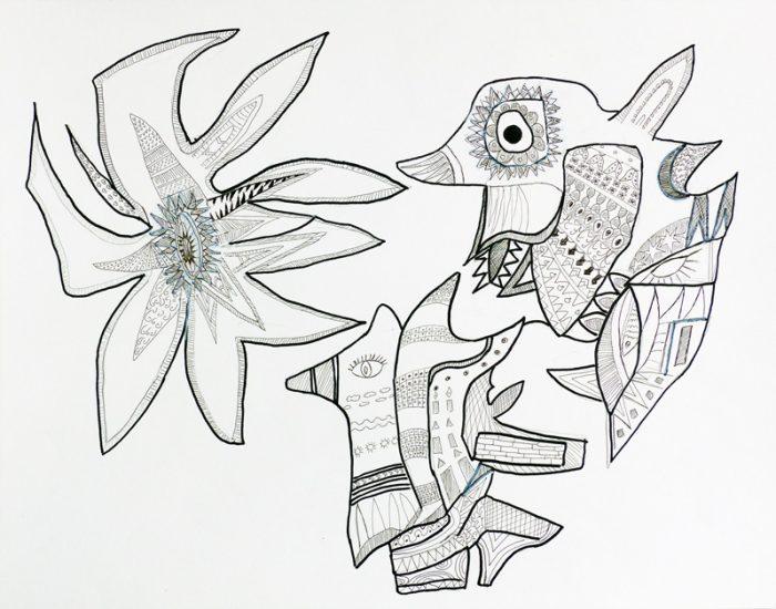 Madeleine Gautier-Brun 2018 - Signes-objets - Mouches de pêche et bijoux fantaisie - Dessin sur papier 50 x 65 cm