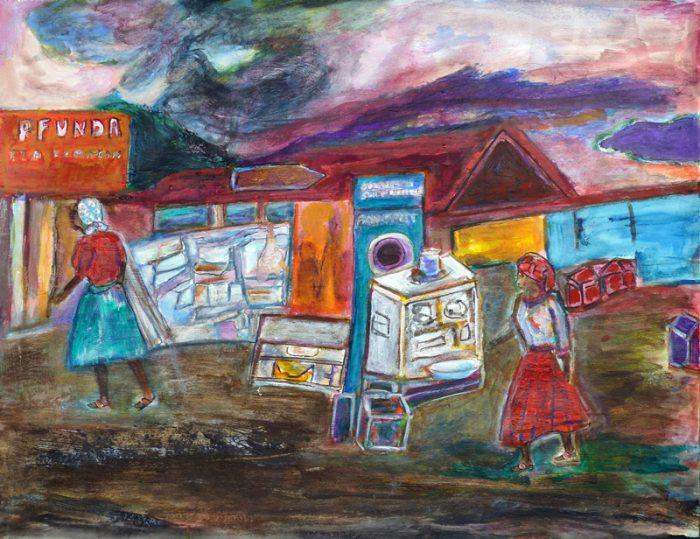 Madeleine Gautier-Brun 2018 - Marché rwandais en bord de route - Peinture sur papier 50 x 65 cm (I)