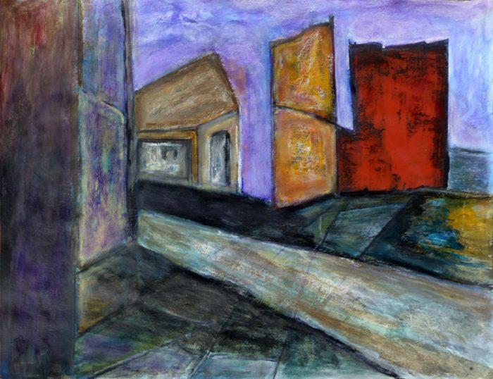 Madeleine Gautier-Brun 2018 - Ruine industrielle - Peinture sur papier 50 x 65 cm (I)