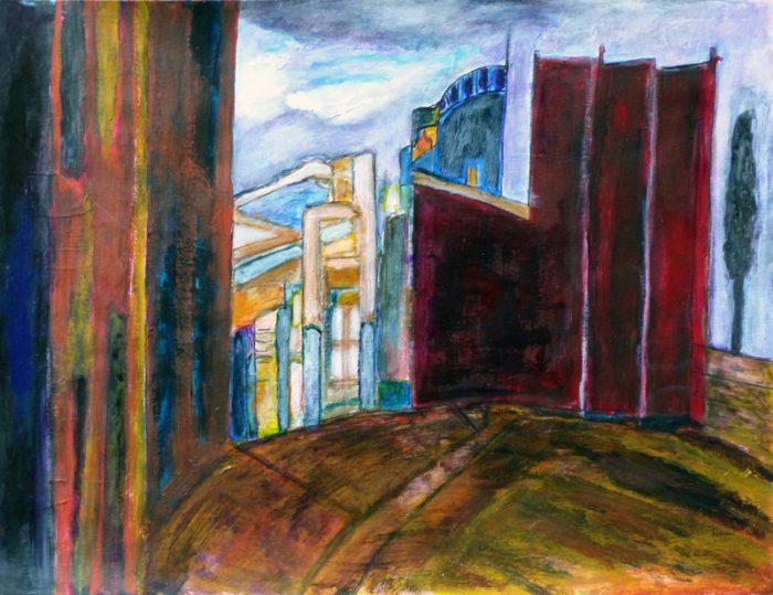 Madeleine Gautier-Brun 2018 - Ruine industrielle - Peinture sur papier 50 x 65 cm (II)