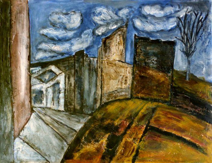 Madeleine Gautier-Brun 2018 - Ruine industrielle - Peinture et mortier sur papier 50 x 65 cm (III)