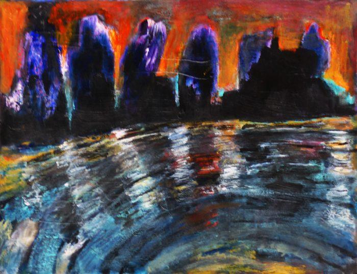 Madeleine Gautier-Brun 2018 61 a Paysage urbain - Acrylique sur papier 50 x 65 cm