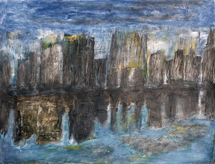 Madeleine Gautier-Brun 2018 61 b Paysage urbain - Acrylique et mortier sur papier 50 x 65 cm
