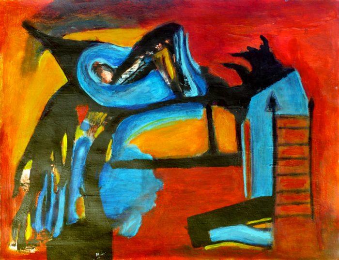 Madeleine Gautier-Brun 2018 -Composition - Peinture sur papier 50 x 65 cm
