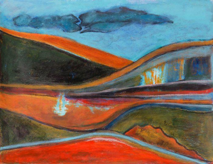 Madeleine Gautier-Brun 2018 Paysage 1 - Peinture sur papier 50 x 65 cm
