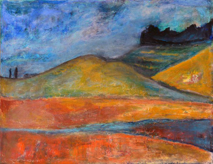 Madeleine Gautier-Brun 2018 Paysage 2 - Peinture sur papier 50 x 65 cm