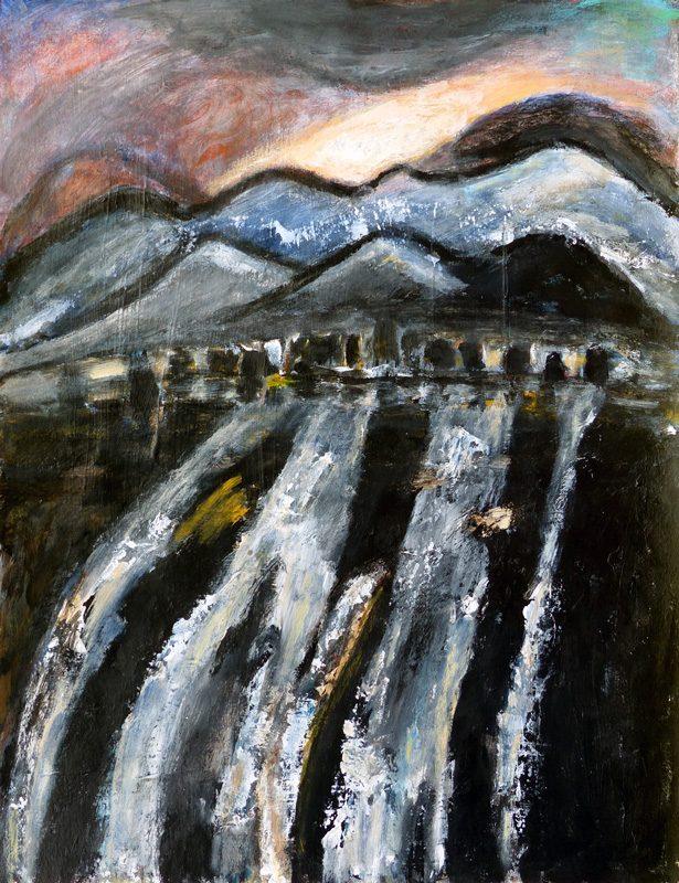 Madeleine Gautier-Brun 2018 Paysage 4 - Peinture et mortier sur papier 50 x 65 cm