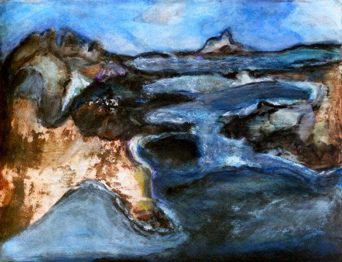 Madeleine Gautier-Brun 2018 Paysage 5 - Peinture et mortier sur papier 50 x 65 cm