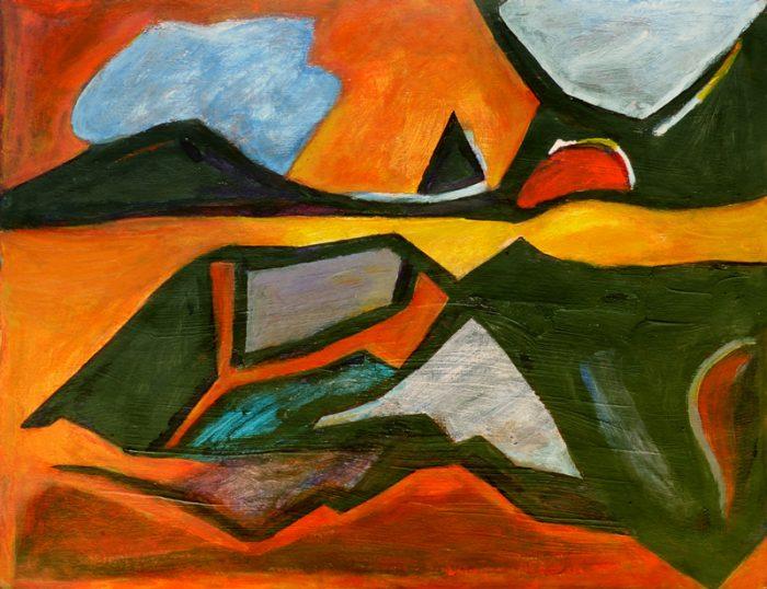Madeleine Gautier-Brun 2018 Paysage 6 - Peinture sur papier 50 x 65 cm