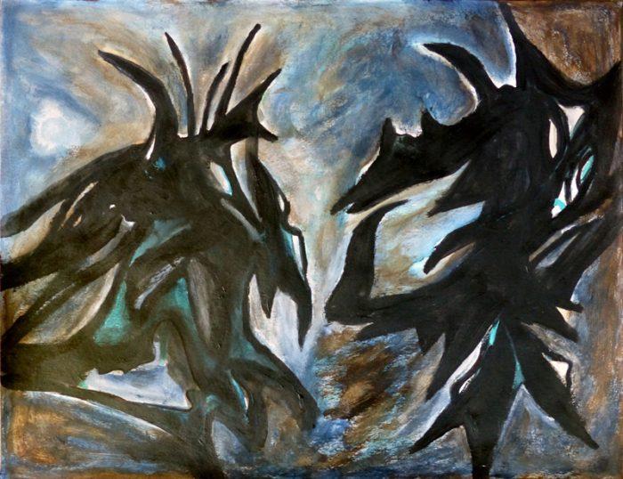 Madeleine Gautier-Brun 2018 Signes-objets 4 - Acrylique sur papier 50 x 65 cm
